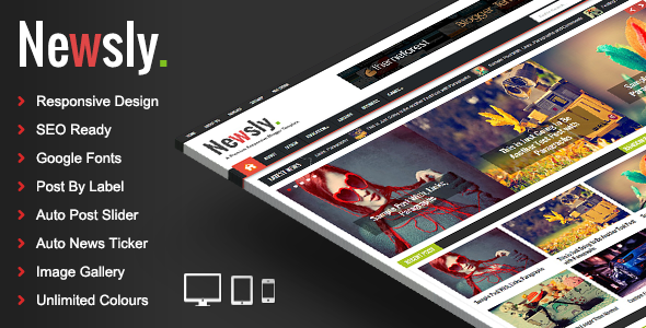 Download Newsly – Responsive Multipurpose Blogger Template Free