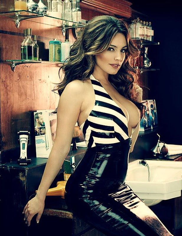Kelly Brook shows shows off her curves in leather for Philips BodyGroom photoshoot