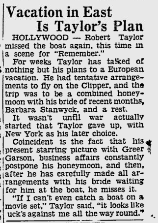 Clipping about Robert Taylor-Barbara Stanwyck postponing honeymoon 1939