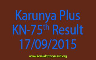 Karunya Plus KN 75 Lottery Result 17-9-2015