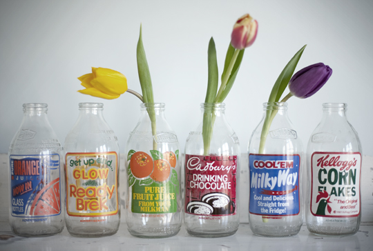 retro milk bottles