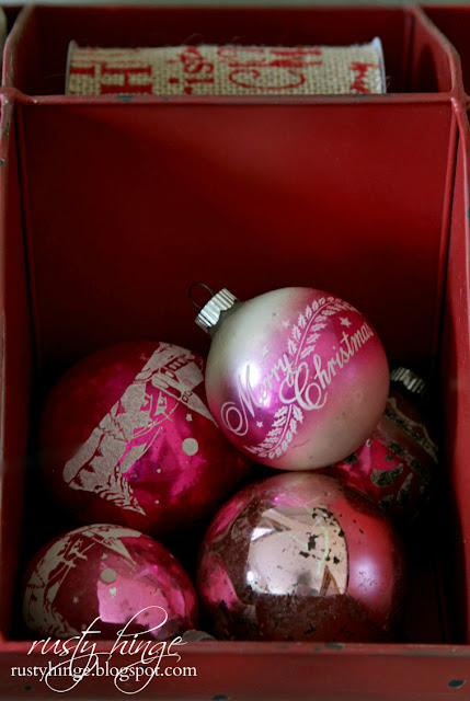 Collection of vintage pink Shiny Brite ornaments