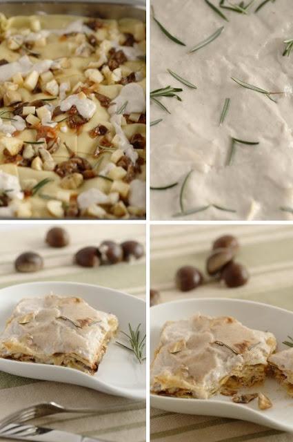 Lasagne al forno con castagne, chiodini e rosmarino