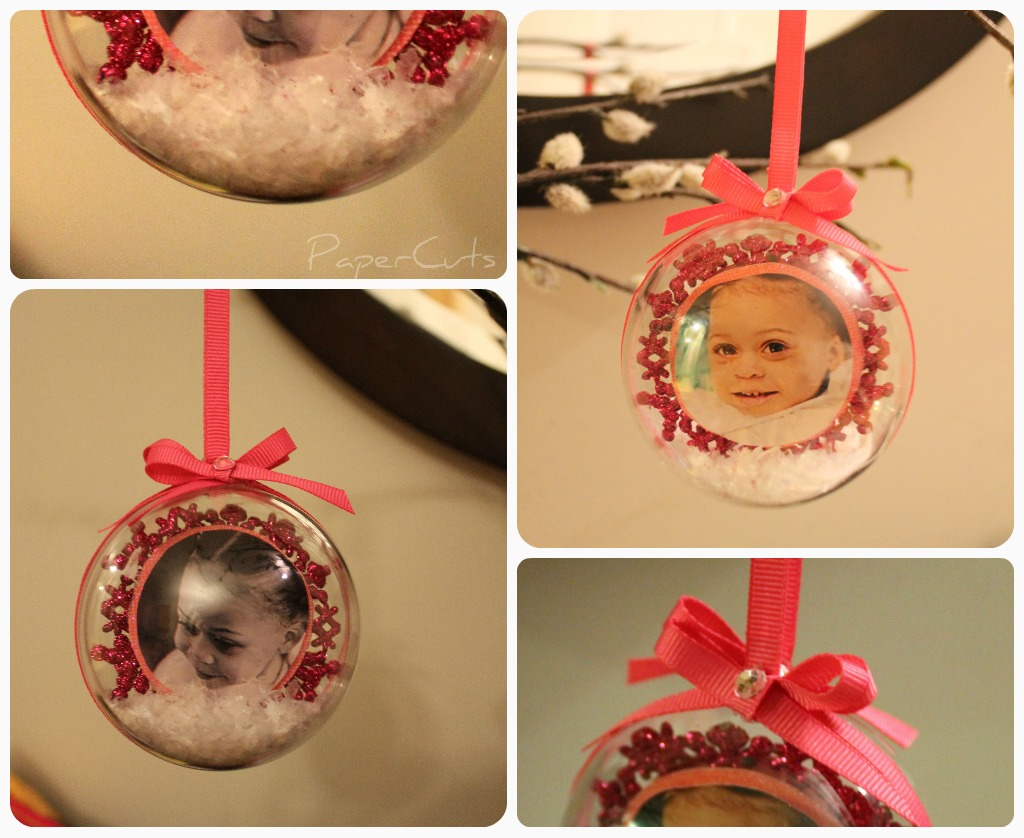Papercuts christmas crafts picture in a ball for Clear plastic craft ornaments michaels