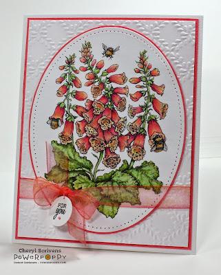Power Poppy, Instant Gardeners, Bees in Foxglove, Digital Image, CherylQuilts, Designed by Cheryl Scrivens