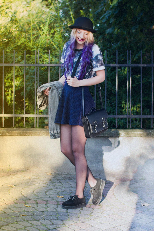 galaxy koszulka print nadruk fioletowe ombre blog modowy kapelusz czarny
