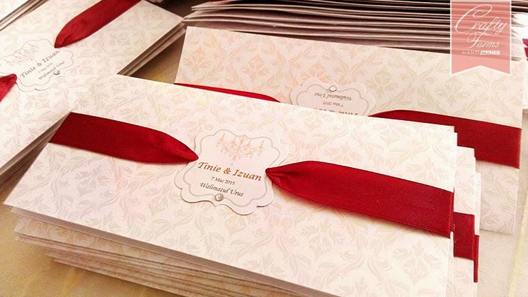 Kad Kahwin Malaysia Maroon Damask Wedding Card with Rhinestone and Ribbon