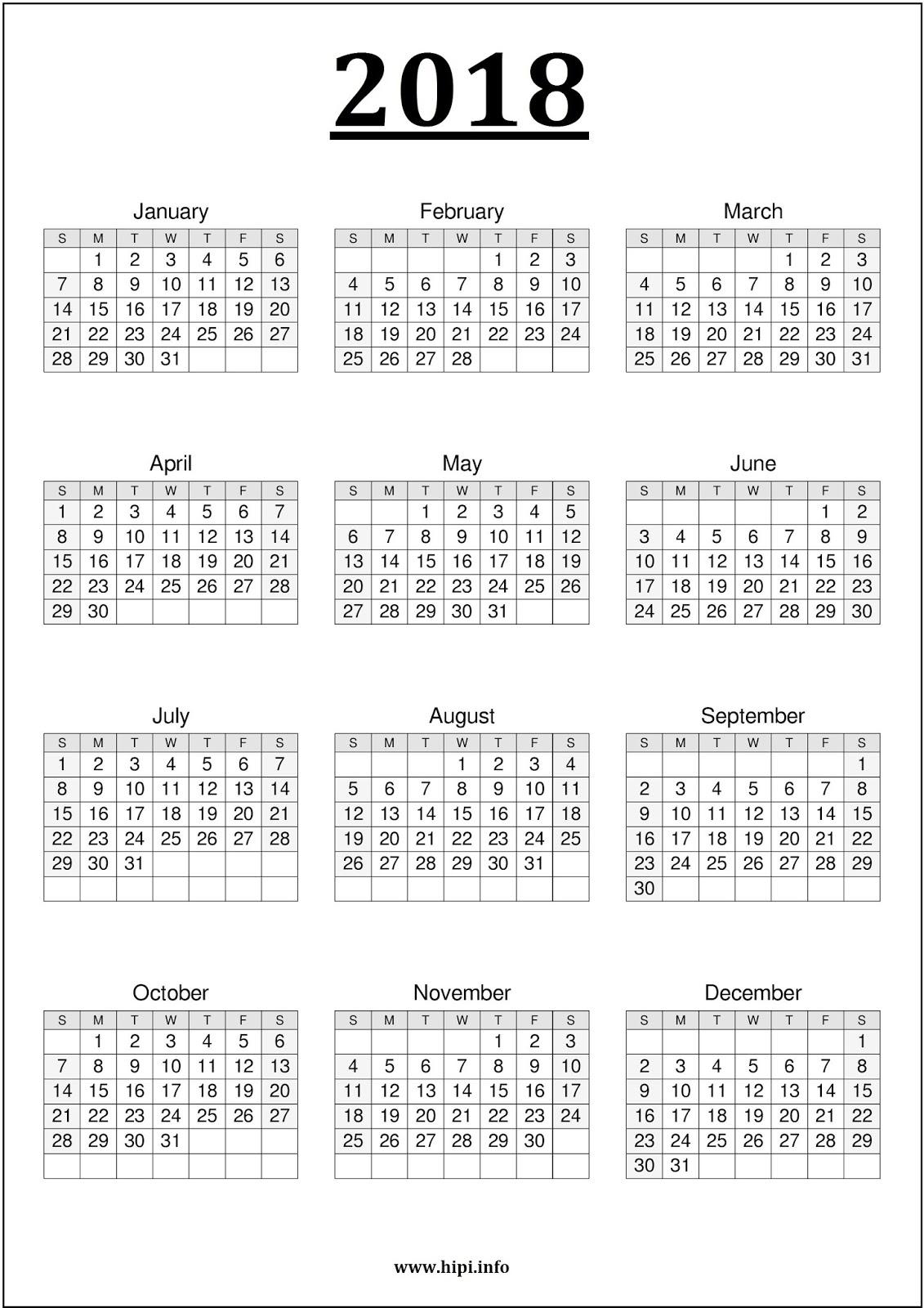 2018 calendar printable one page - Geocvc.co