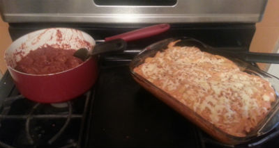 Baked Ziti with a side of Meat Sauce_Micki Bare
