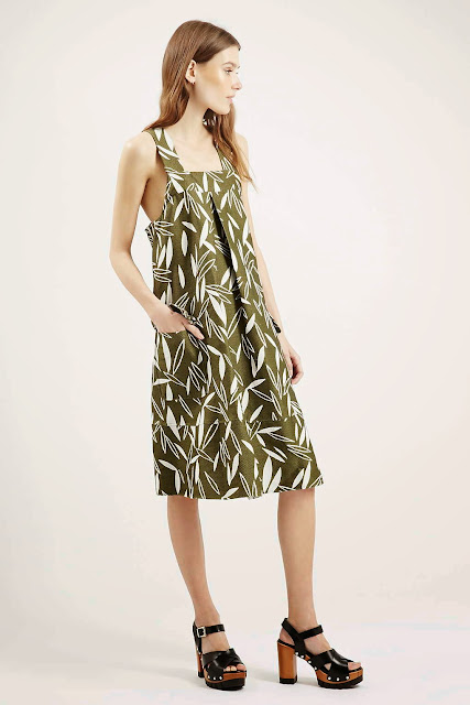 leaf print green dress, olive pinafore,