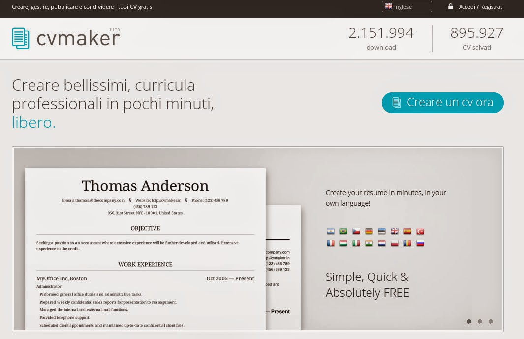 il blog di andrea tamburelli  un nuovo servizio free per creare curriculum online