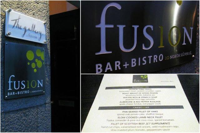 Entrada y carta del Restaurante Fusion Bar Bistro en Aberdeen, Escocia.
