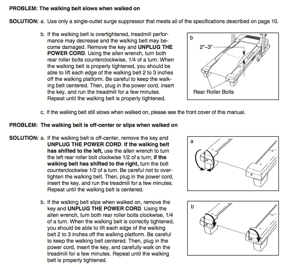 How To Replace The Front Roller Of A Proform Crosswalk Caliber Elite Treadmill Wiring Diagram Walking Belt Tension Instructions