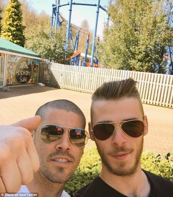 """Close Friends"";David De Gea And Victor Valdes Hook Up Together At Manchester Theme Park…Photo"