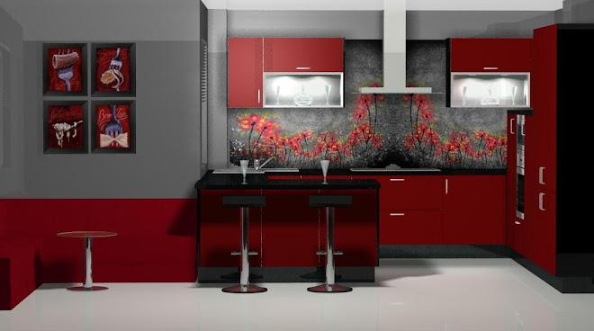 Diseño de cocina con office, en  burdeos y negro