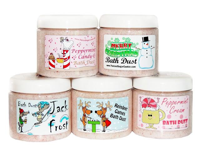 The Iced Sugar Cookie Bath And Body  Peppermint Candy Bath Dust Merry Christmas Bath Dust Jack Frost Bath Dust Reindeer Games Bath Dust Peppermint Cream Bath Dust
