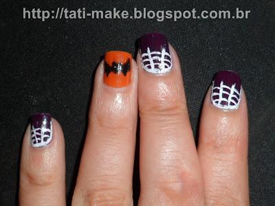 unhas halloween morcego