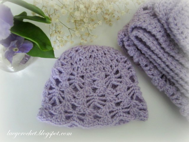 Free Crochet Baby Lacy Hat Pattern : Lacy Crochet: Baby Hats Free Patterns