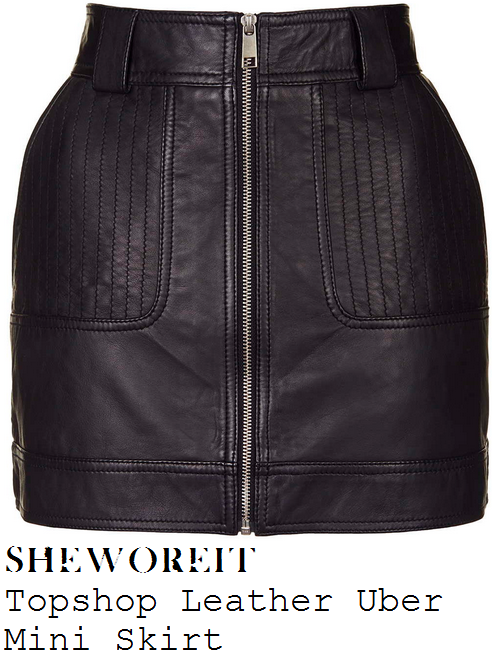caroline-flack-black-zip-front-leather-mini-skirt-x-factor