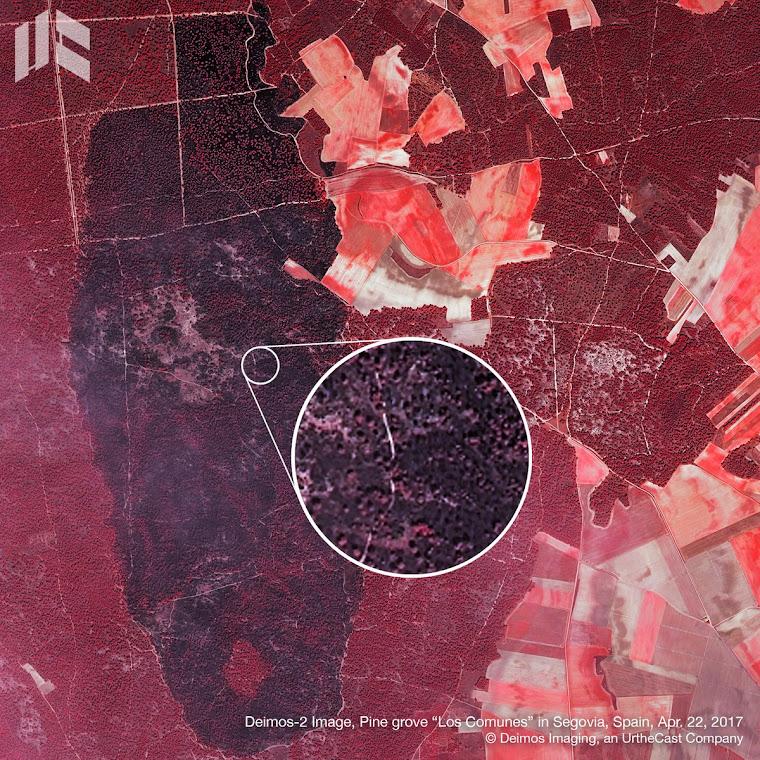 El incendio desde el satélite Deimos II