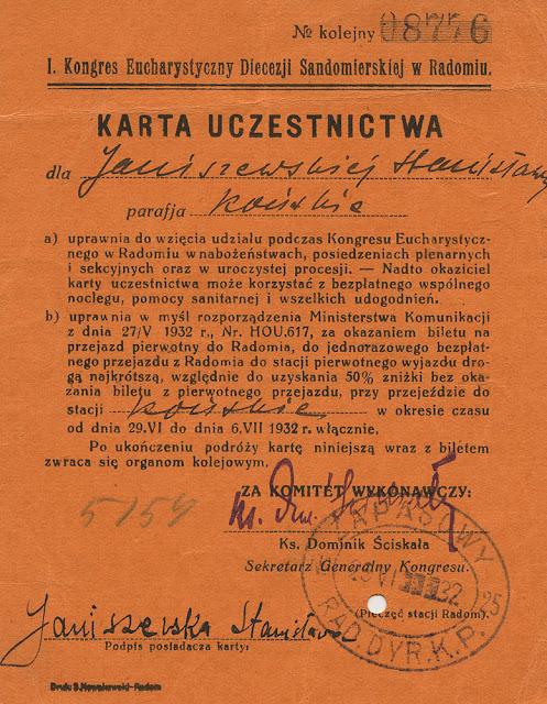 Karta uczestnictwa w uroczystościach Kongresu Eucharystycznego w Radomiu dla Janiszewskiej Stanisławy (mojej babci). Dok. z kolekcji KW.