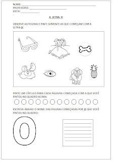 Atividades para Alfabetização - Pinte as figuras - Escreva o nome das figuras - A letra O