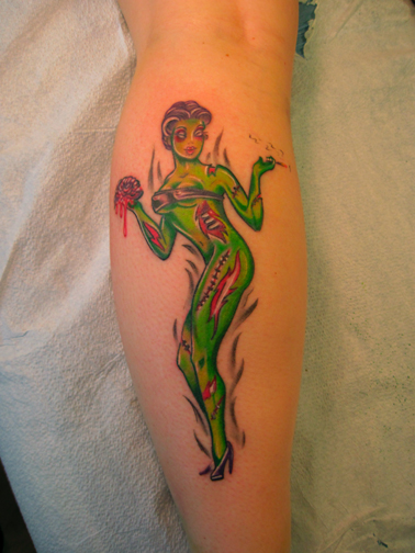 alameda tattoo zombie pin up girl and zombie business man