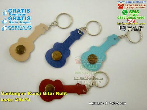 Gantungan Kunci Gitar Kulit