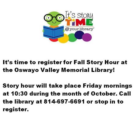 10-6 October Story Hour, Oswayo Valley Library