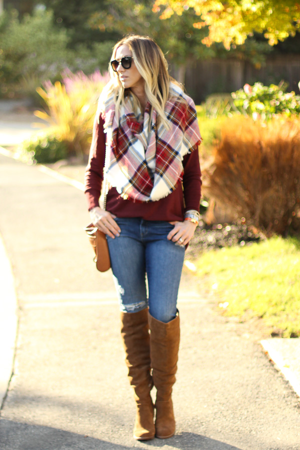 red plaid blanket scarf parlor girl