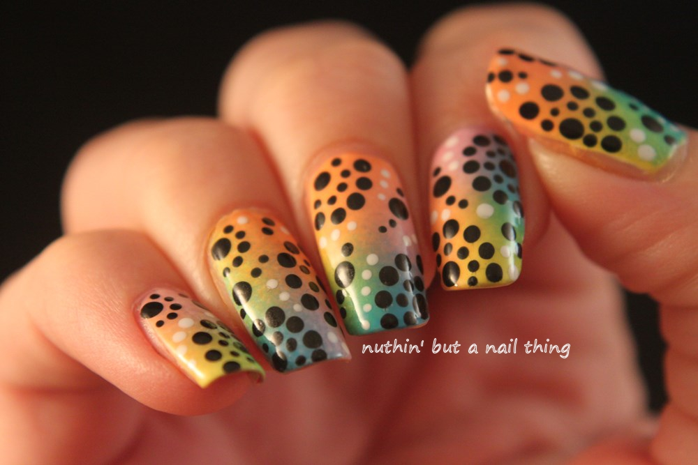 Colourful polka dot nail art