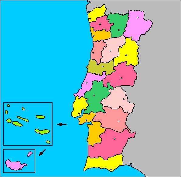 Mapa de portugal sin nombres