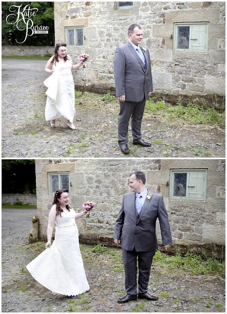 first look, bride and groom, bride in window, bridal prep, vintage wedding, high house farm brewery wedding, northumberland wedding photography katie byram photography,