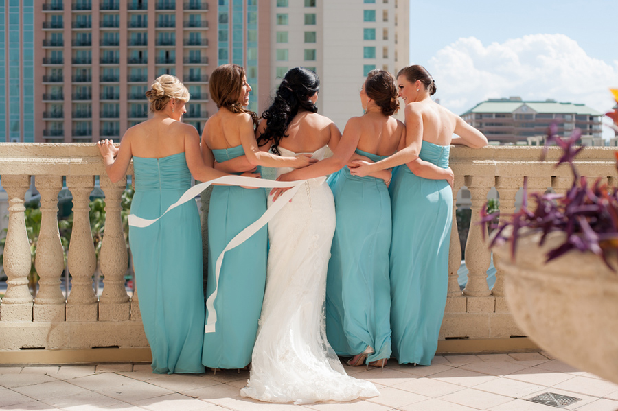 tiffany blue chiffon bridesmaid gowns
