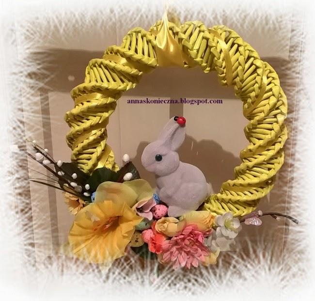 Wielkanoc, wianek, papierowa wiklina