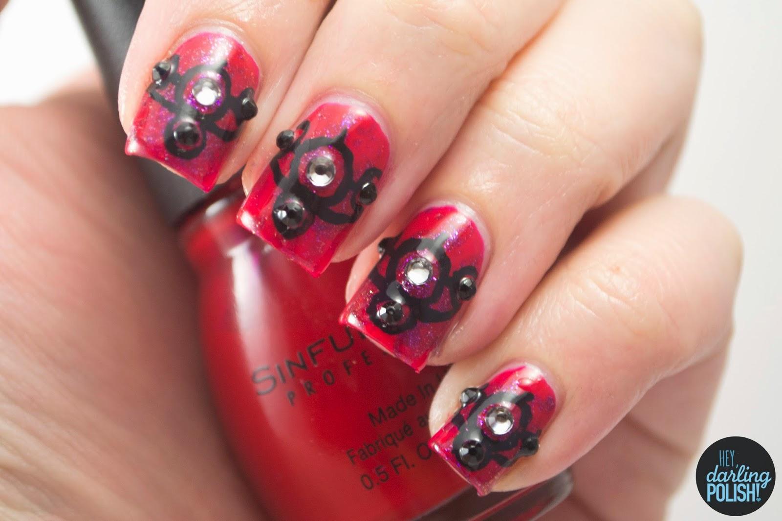nails, nail art, nail polish, polish, red, black, rhinestones, gothic, hey darling polish, theme buffet