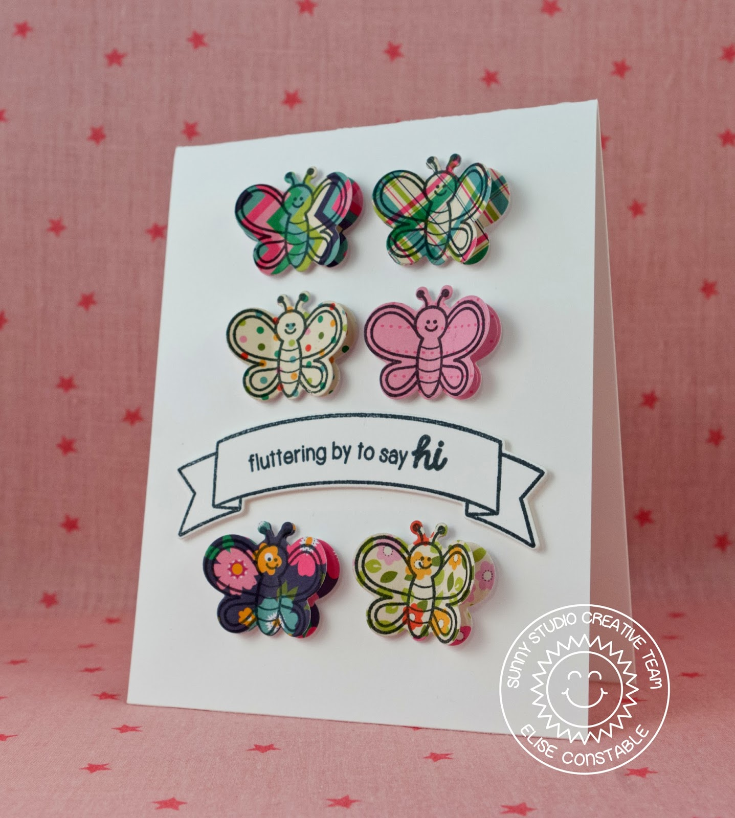 sunny studio backyard bugs fluttering by to say hi butterfly card