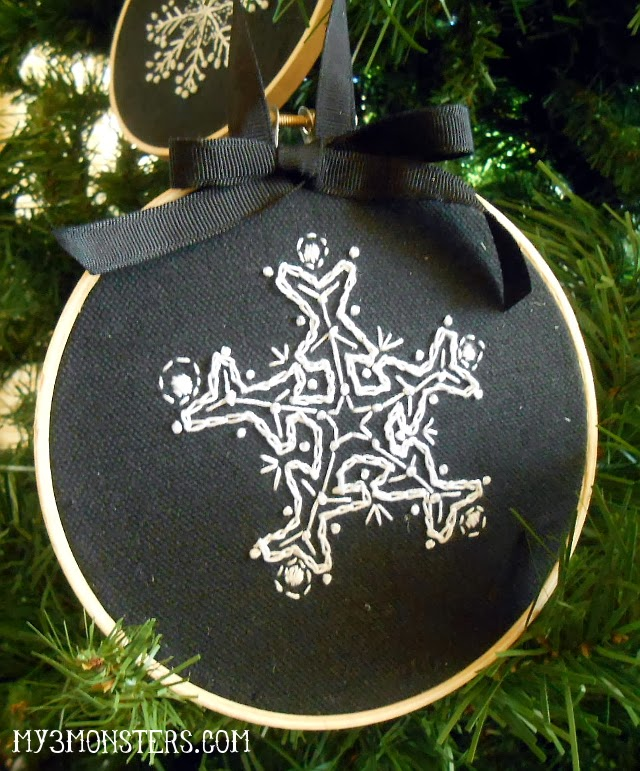 Embroidered Snowflake Ornament Tutorial at my3monsters.com