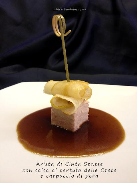 arista di cinta senese con crema al tartufo e carpaccio di pera