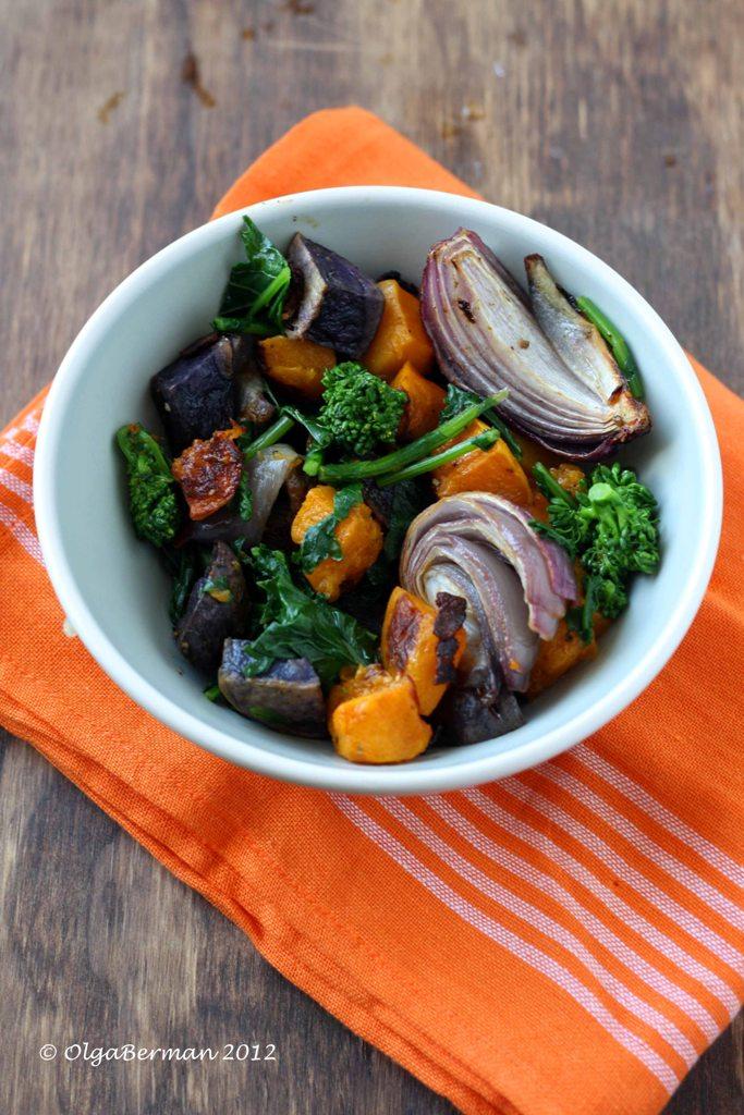 ... Squash, Red Onion & Purple Potato Salad with Broccoli Rabe and Bacon