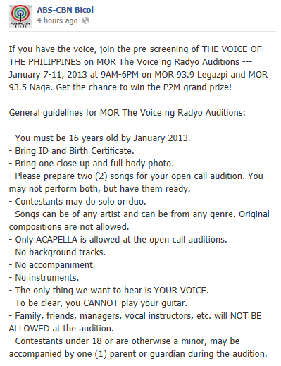 The Voice Audition Announcement - Bicol Region