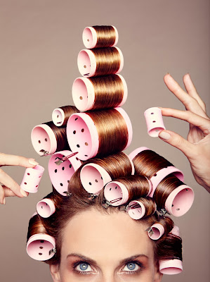 woman wearing rollers, curlers, hair, beauty