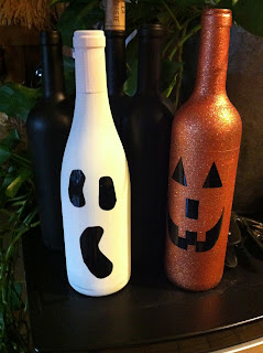 pumkin and ghost wine bottles