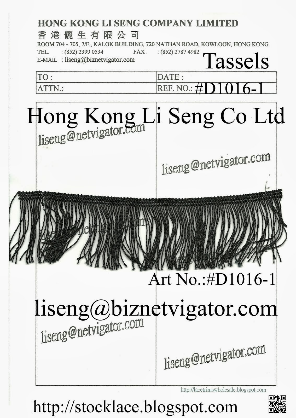 Black Tassels Manufacturer Wholesale and Supplier - Hong Kong Li Seng Co Ltd