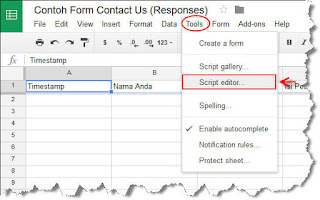 cara mengaktifkan google script editor