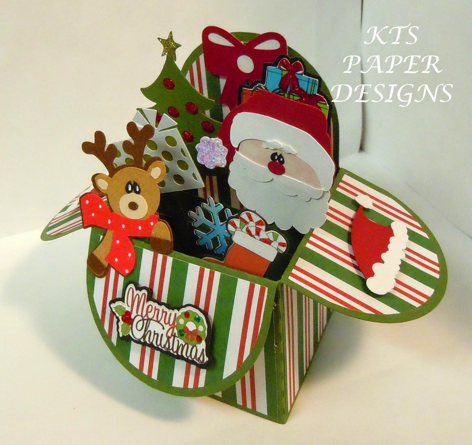 kts paper designs card in a box christmas santa reindeer