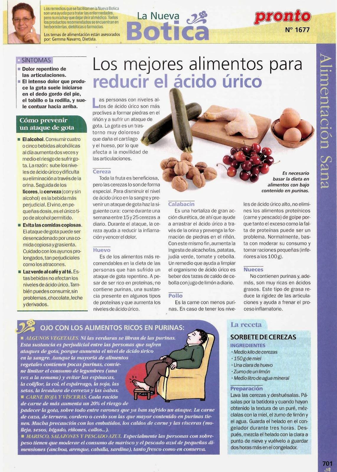 alimentacion para disminuir acido urico que es bueno para quitar el dolor dela gota porque se forma el acido urico