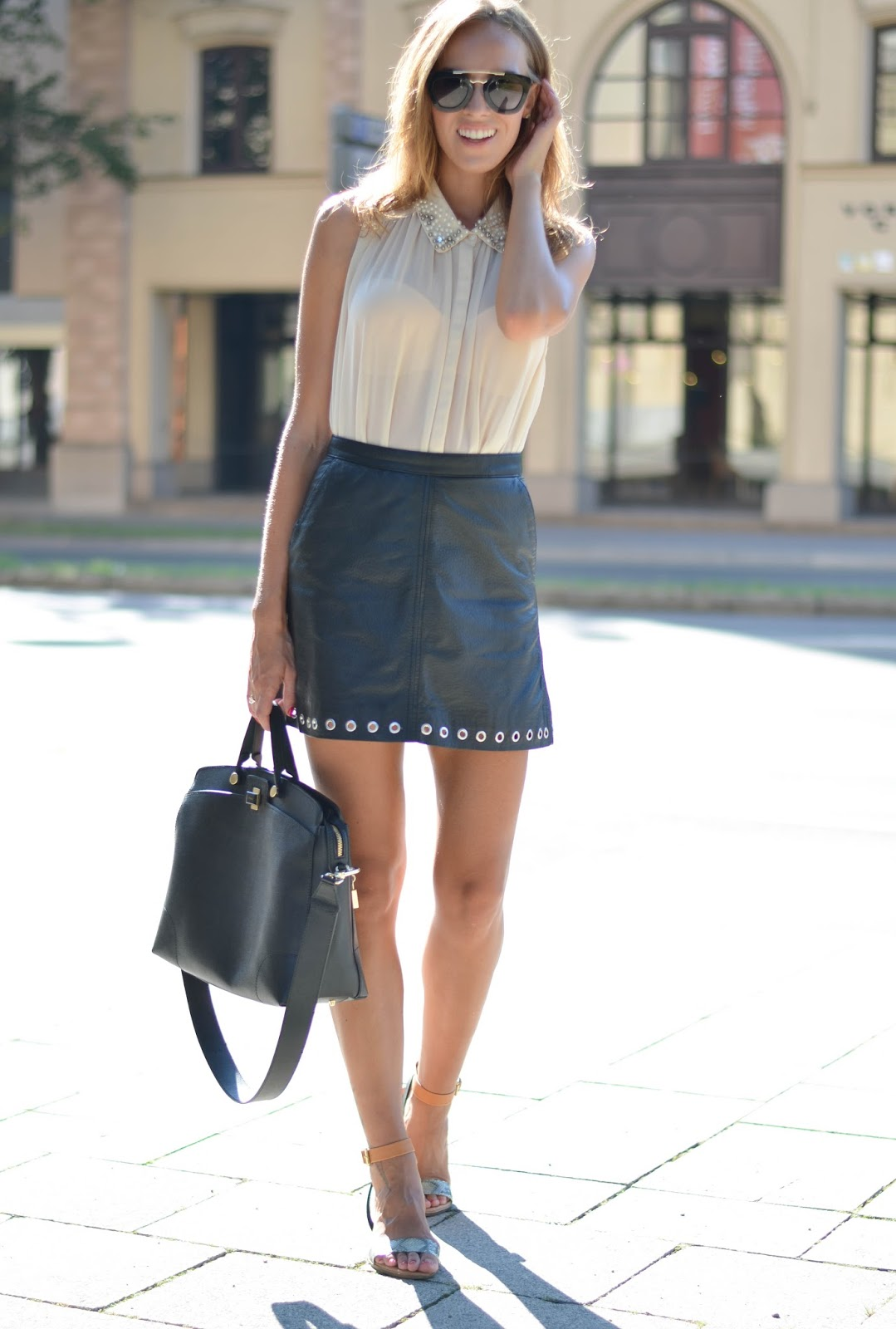 kristjaana mere black leather mini skirt outfit style fashion