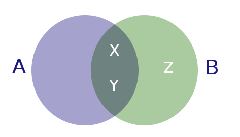A venn diagram showing an overlap between A and B, sharing attributes X and Y. Z is only in set B, and not in set A.