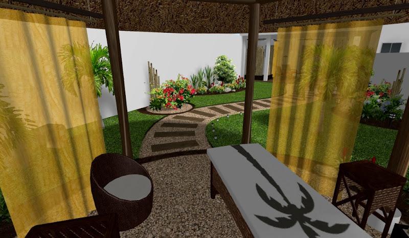 diseño de jardin con kiosko redondo para masage spa